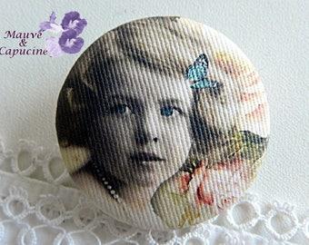Button in retro girl cloth, 40 mm / 1.57 in diameter