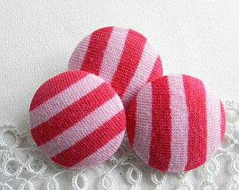 Button pink fabric and fuchsia striped, 24 mm / 0.94 in diameter