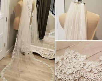 "90"" alencon lace bridal veil"