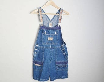 Summer SALE - 20% off - vintage 90s dark wash denim B.U.M. Bum Equipment overall shorts shortalls -- womens medium