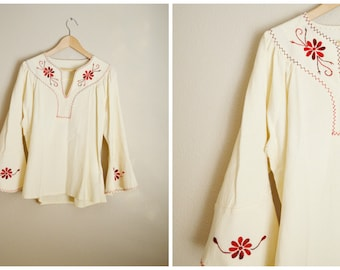 vintage 70s ivory cotton linen hippie hippy bohemian peasant blouse bell sleeves embroidered top-- womens large
