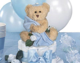 Bris Decorations, Balloon Centerpiece for Bris Teddy Bear with Yarmulke, Star of David Confetti