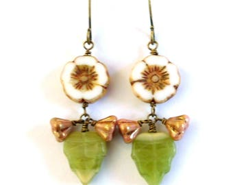 Flower and leaf bead earrings, antiqued brass, earthy colours opaque Czech glass flat flower, cream brown green, Fall botanical bead jewelry