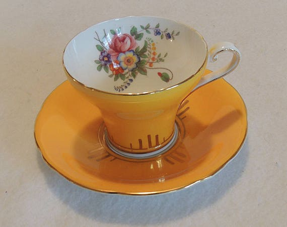 Vintage Aynsley Bone China Tea Cup & Saucer.. Dark Yellow.. Floral  Corset Design