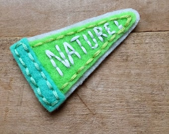 Nature Pennant. Hand Embroidered Patch.