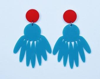 POP JEWELS - Pop Biggies Earrings - Laser Cut - Teal/Red Acrylic Earrings