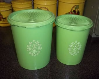 Vintage 1970s Tupperware set of 2 - Servalier canisters in green apple color with lids