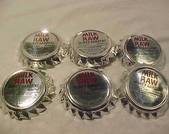 Set of Six c1950s-60s Honey Gardens Dairy Raw Milk Lebanon, N.H., New Hampshire Milk Bottle Caps