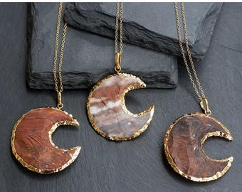 40 OFF - Jasper Stone Moon Pendant - Crescent Moon Necklace - Tribal Moon - Layering Necklace - Bohemian Necklace - Boho Hippie Chic Necklac