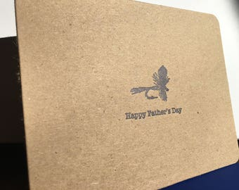 Father's Day Fly Fish | Blue Letterpress Father's Day Card