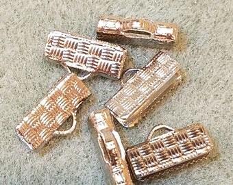12mm crimp, Silver Metal Crimp, Ribbon Crimp End, Necklace crimp, cord end clasp, ribbon clamp, leather crimp end, necklace crimp