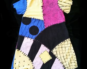 Sally Nightmare Before Christmas Theme Park Colors Patchwork Dress Ship Now Child Size 4  by TheRubyBee