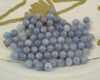 6MM Round Aquamarine Beads, Periwinkle Color 60 Pieces