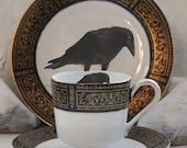 Gorgeous Black & Gold Raven (or Custom) Tea Trio, Raven Tea Set, Crow Teacup, Halloween China, Personalized Custom Monogram Dinnerware