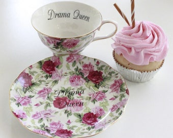 """Floral """"Drama Queen"""" Teacup, Insult Teacup, Offensive Teacup, Durable, Foodsafe, Mean Teacup, Gift Teacup, Choose Any Teacup, Insult cup"""