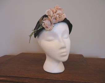 Vintage Black fascinator with pink roses hat, Retro Hat, Derby Hat, Womens Accessories, Boho style, French vintage, Wedding hat,