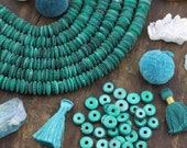 Green & Black Serration : Hand Carved Bone Rondelle Spacer Discs, 11x3.5mm, Bohemian Jewelry Making Craft Supply, Boho, Festival, 65+ pcs