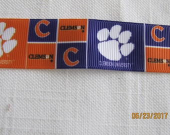 "Clemson Tigers 1"" Grosgrain Ribbon by the Yard"