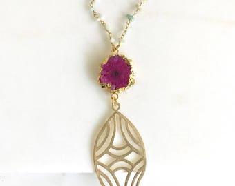 Long Fuchsia Geode Slice Necklace with Amazonite Aqua Chip Stones.  Unique Long Boho Style Necklace. Long Layering Stone Necklace. Gift.