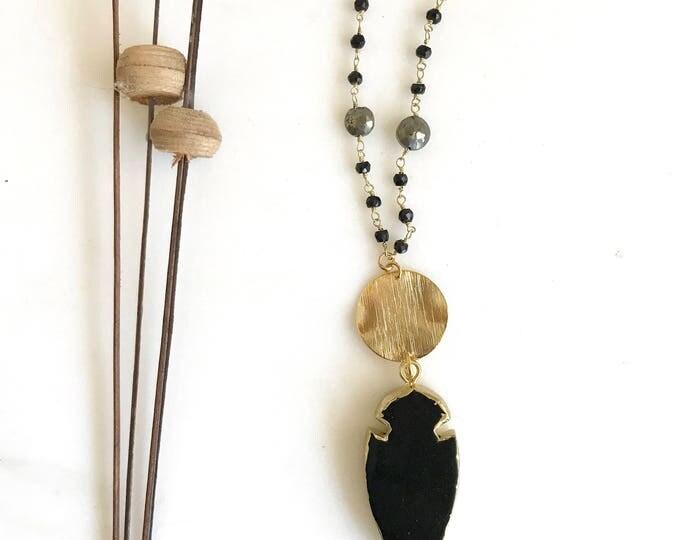 Long Black Boho Style Necklace. Black Shield Stone Necklace. Unique Long Gold Necklace. Boho Jewelry. Gift.