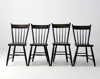 Antique Windsor Chairs Set/4, Stencil Back Spindle Chairs, Black Dining  Chairs
