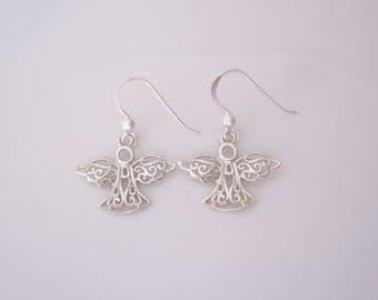 Sterling silver filigree ANGEL dangle earrings