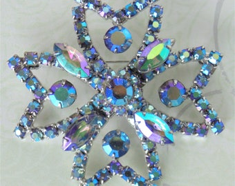 Shimmering Large Star Shaped Turquoise Purple Greens & Blues Aurora Borealis Faceted Rhinestone Crystal Brooch