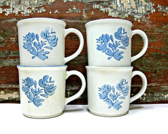 Pfaltzgraff Mugs - Set of 4 - Vintage Coffee Tea Cups Yorktowne Pattern 289 - Blue and White