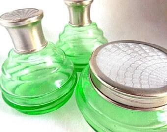 20's Green Glass Dresser Set Guilloché Silver Lids Jar and 2 Bottles Antique Art Deco Boudoir 3 Piece Collectible