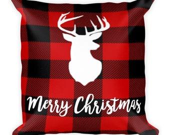 Merry Christmas  Deer Buffalo Plaid - Square Pillow