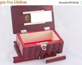 Hungarian Home Decor Keepsake & Jewelry Puzzle Box Handcarved Wooden (Cherry Red)