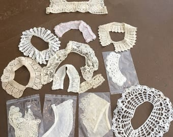 Vintage Lot of Crocheted and Lace Collars