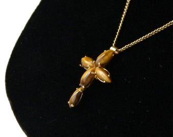 Vintage Tiger Eye Cross Pendant Necklace