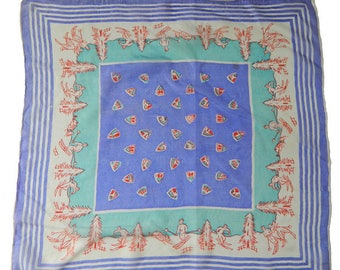 Vintage 1950s Ski Themed Silk Scarf