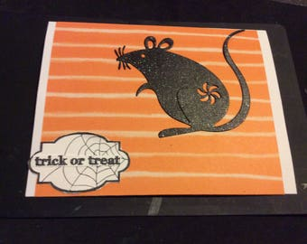 Trick or Treat handmade Halloween card, black sparkly rat, trick or treat tag blank inside