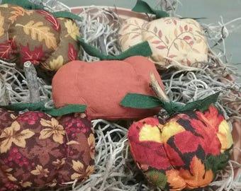 Mini Fabric Pumpkin Bowl Fillers - Set of  5 - Fall Table Decor - Small Stuffed Pumpkins - Primitive Autumn Tucks