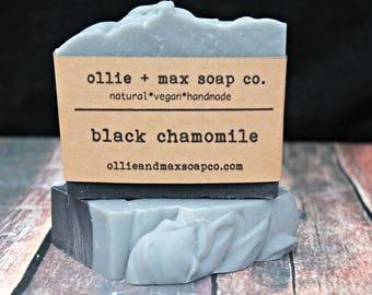 VACATION SALE  Black Chamomile Cold Process Soap, Vegan Soap, Charcoal Soap