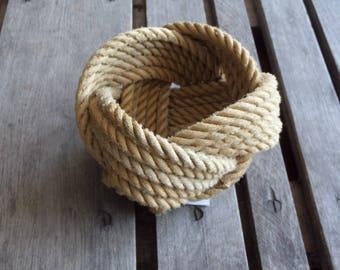 "Rope Basket  5""  x 3"" Nautical Decor Rope Bowl Natural Khaki colored"