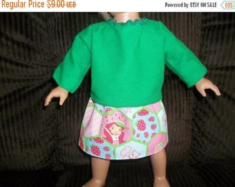 American 18 Inch Doll Clothes handmade Top green with Strawberry Shortcake skirt