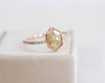 Yellow Rustic Diamond + Pavé Engagement Ring | Elongated Hexagon Rose Cut Diamond | 14k Recycled Rose Gold | One of a Kind