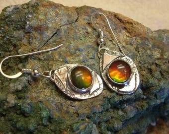 Ammolite Dangle Earrings Sterling Silver Pebble Jewelry Utah Gem Statement Earrings Statement Jewelry Red Green and Yellow Fire 700