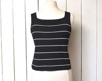 34% Off Sale - Vintage Tank Top Early 90s Black White 90210 Preppy Nautical Sleeveless Fitted Blouse Medium Large