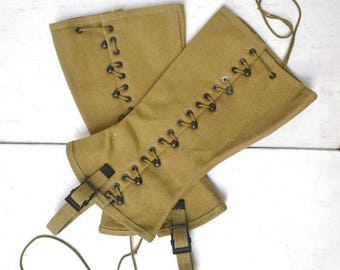 34% Off Sale - Lace Up Snake Guards - Vintage Snake Gaiters - Canvas Boot Covers - 1940s Military Spats Uniform - Steampunk Edwardian Style