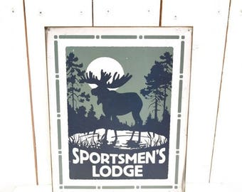Sportsmen's Lodge Sign Vintage Metal Sign Early 90s Twin Peaks Woodland Moose Man Cave Wall Hanging