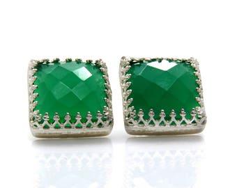 Green onyx earrings,sterling silver earrings,vintage earrings,green earrings,birthday gift,post earrings