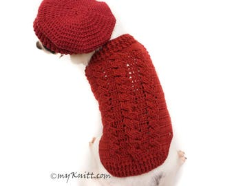 Cable Crochet Dog Sweater, French Beret Dog Hats, Cable Knit Dog Sweater, Chihuahua Clothes, Dachshund Clothes, Poodle Clothes DF108 Myknitt