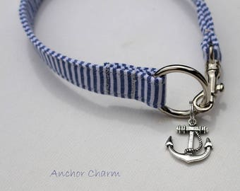 Italian Greyhound Easy On/Off Custom fit Vintage Blue Stripe Cotton ID / Tag Collar with Anchor Charm - measurements essential,   tag collar