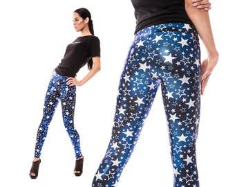 Star Leggings, Festival Clothing, Burning Man, Blue Holographic Leggings, Dance Costume, Aerial Silks, Stage Wear, Meggings, by LENA QUIST
