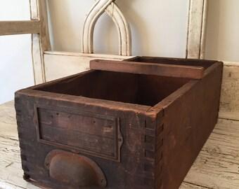 Vintage Wooden Box for Storage or Organization - Rustic Old Drawer - Divided - Wedding Card Holder Idea