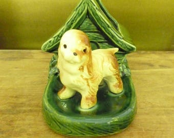 Vintage Shawnee Dog Planter - Spaniel with Doghouse Planter
